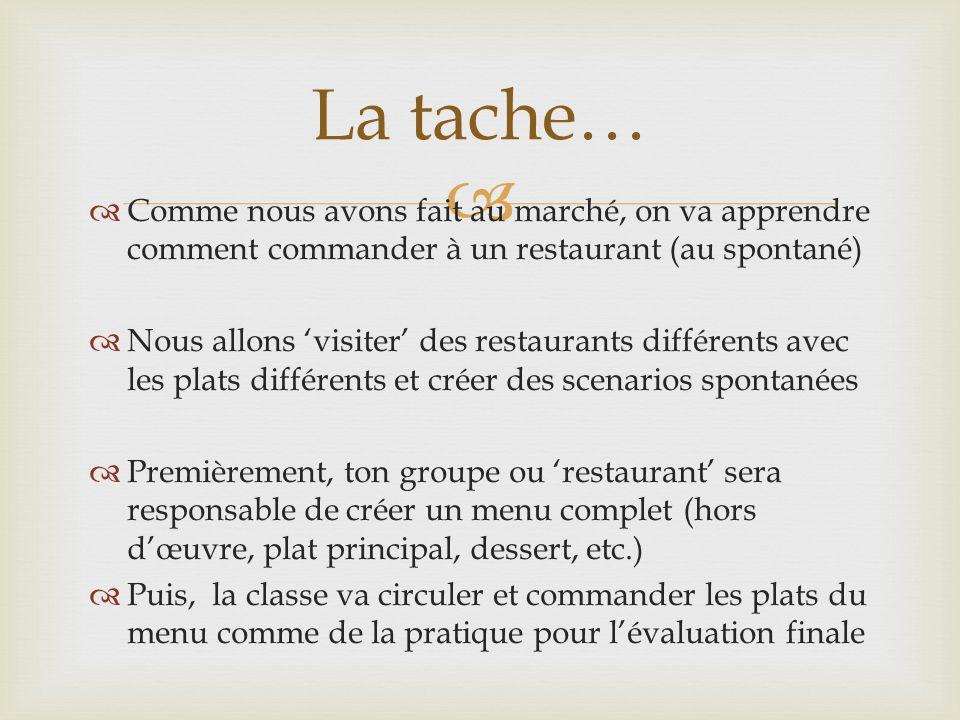 La tache… Comme nous avons fait au marché, on va apprendre comment commander à un restaurant (au spontané)