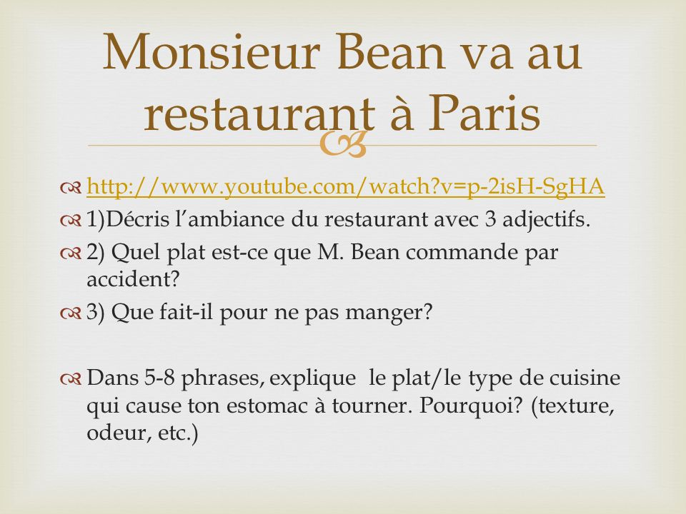 Monsieur Bean va au restaurant à Paris