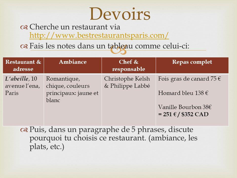 Devoirs Cherche un restaurant via http://www.bestrestaurantsparis.com/