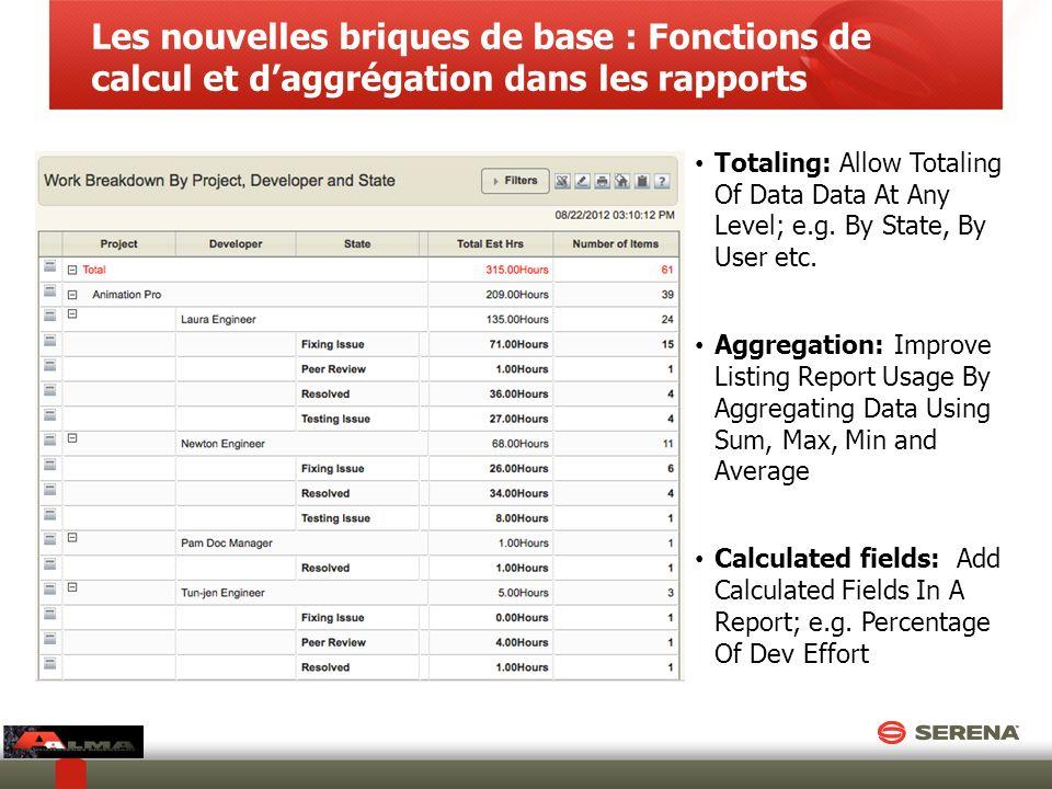 Les nouvelles briques de base : Fonctions de calcul et d'aggrégation dans les rapports