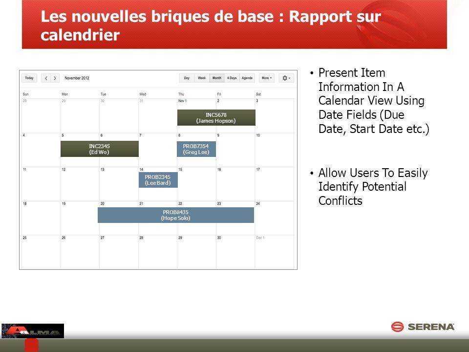 Les nouvelles briques de base : Rapport sur calendrier