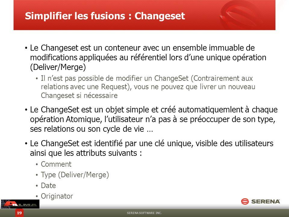 Simplifier les fusions : Changeset