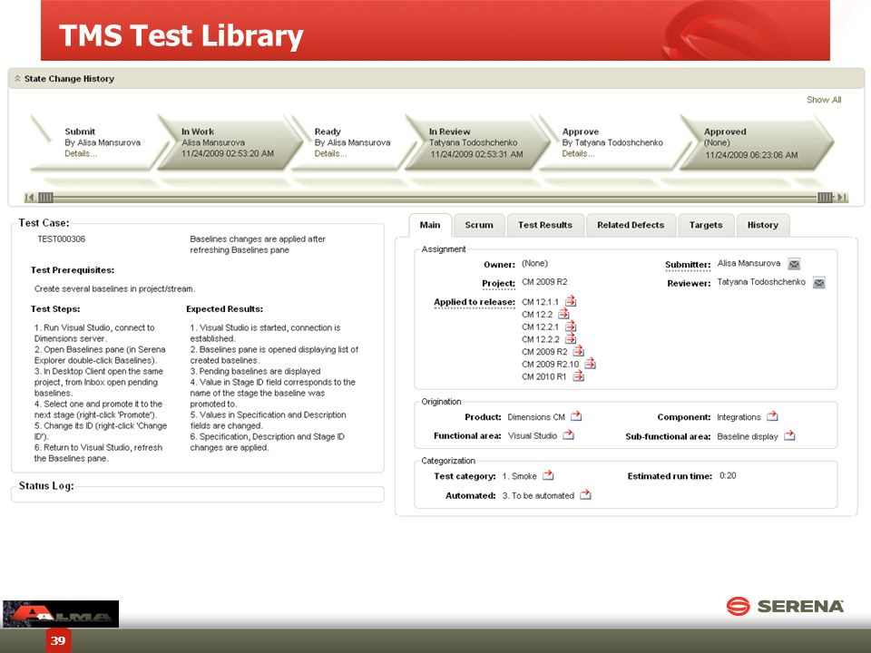 TMS Test Library Copyright © 2012 Serena Software, Inc. All rights reserved.