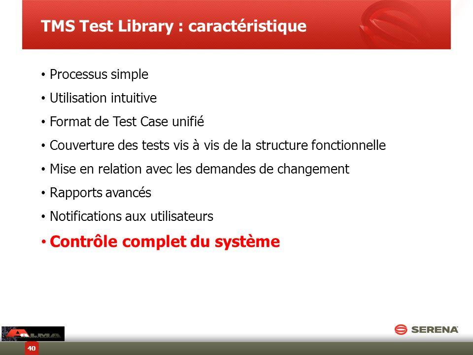 TMS Test Library : caractéristique