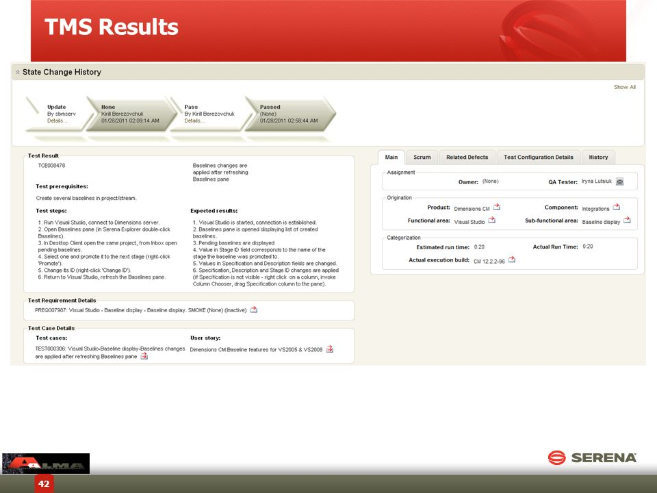 TMS Results Copyright © 2012 Serena Software, Inc. All rights reserved.