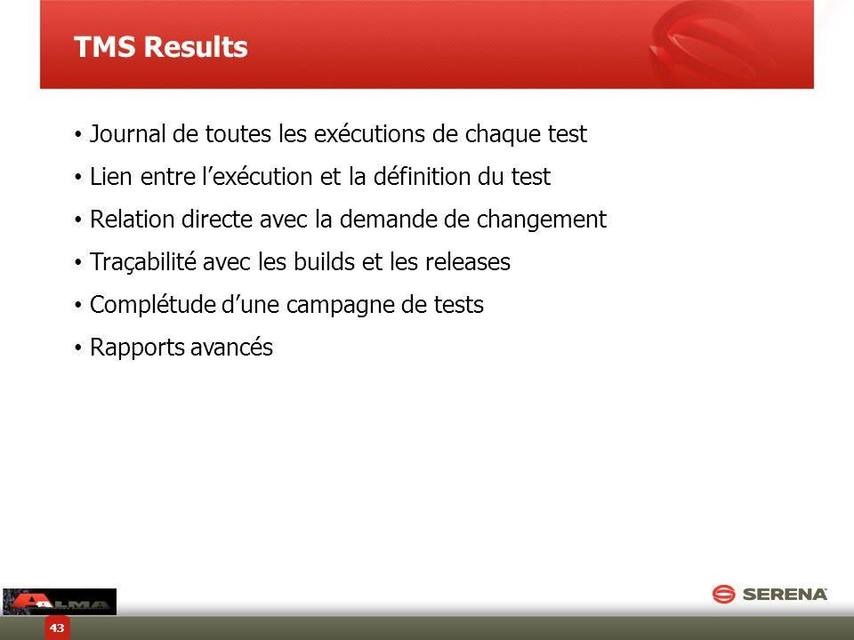 TMS Results Journal de toutes les exécutions de chaque test