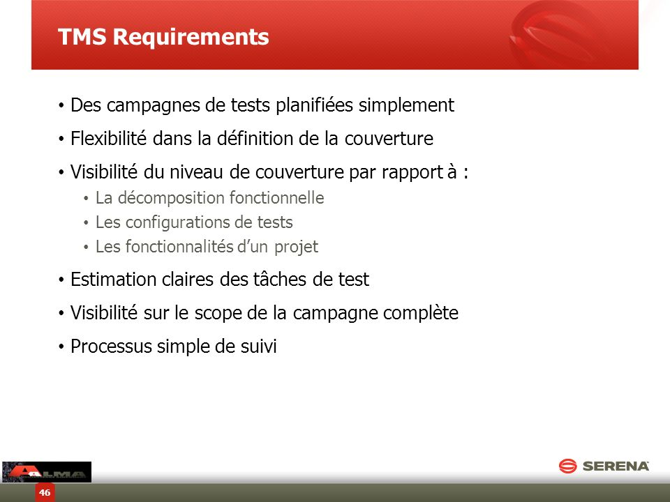 TMS Requirements Des campagnes de tests planifiées simplement