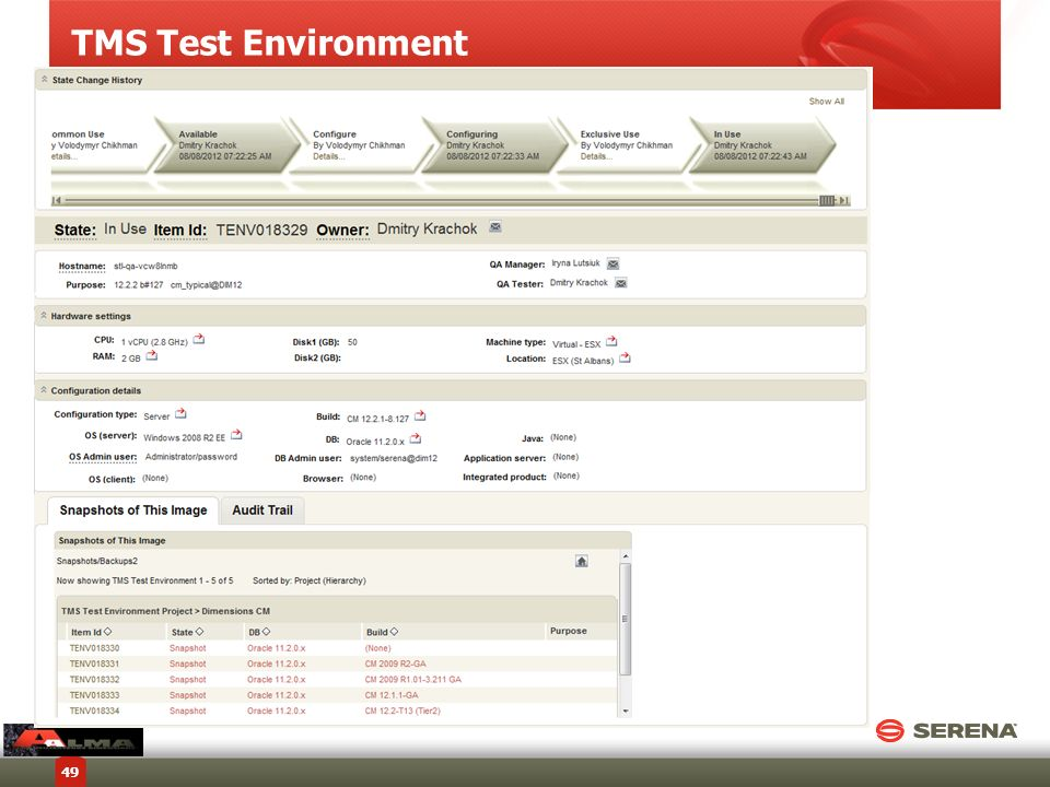TMS Test Environment Copyright © 2012 Serena Software, Inc. All rights reserved.