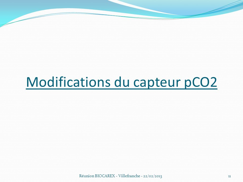 Modifications du capteur pCO2