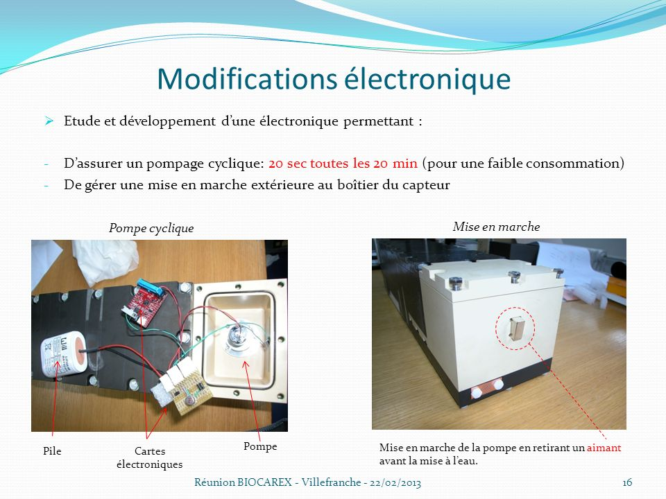 Modifications électronique