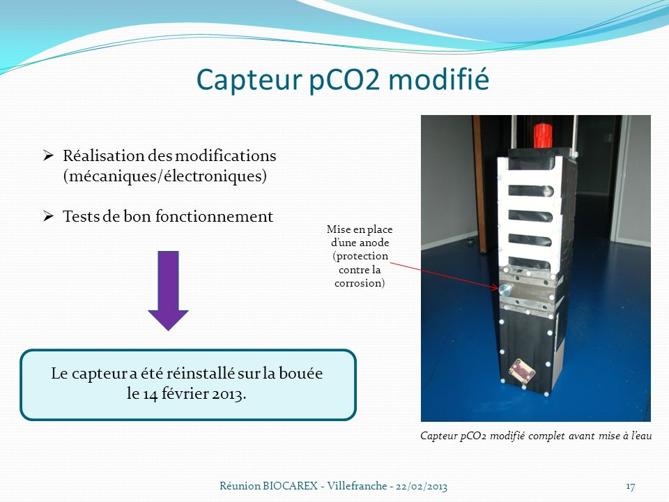 Capteur pCO2 modifié Réalisation des modifications (mécaniques/électroniques) Tests de bon fonctionnement.