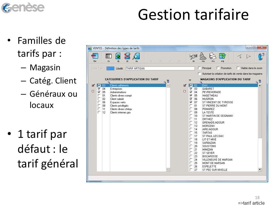 Gestion tarifaire 1 tarif par défaut : le tarif général