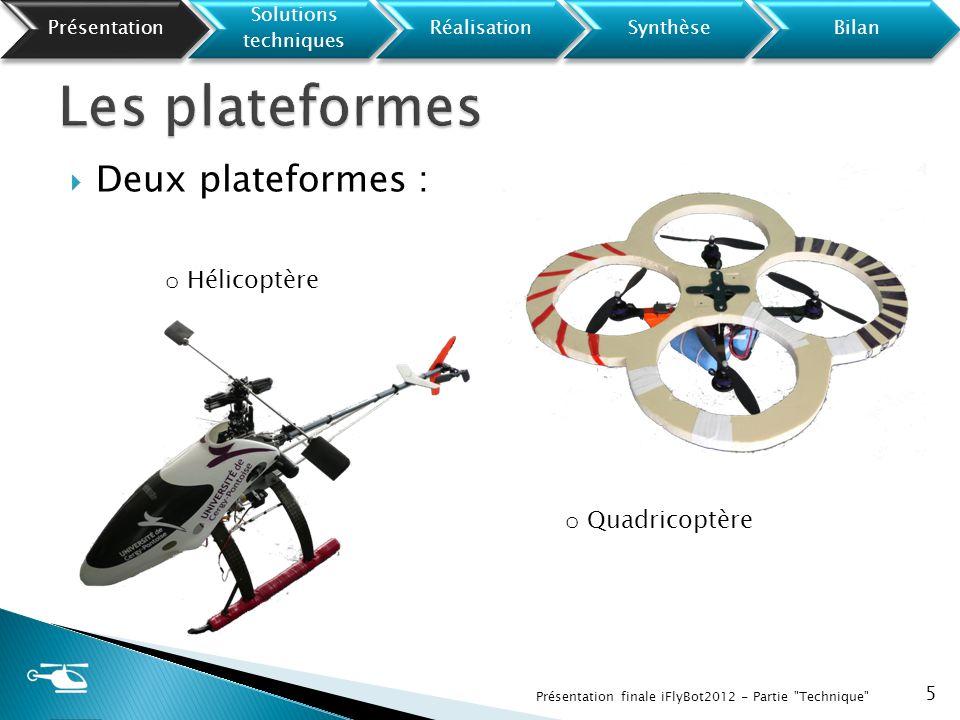 Les plateformes Deux plateformes : Hélicoptère Quadricoptère