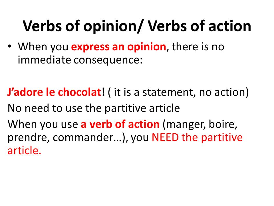 Verbs of opinion/ Verbs of action