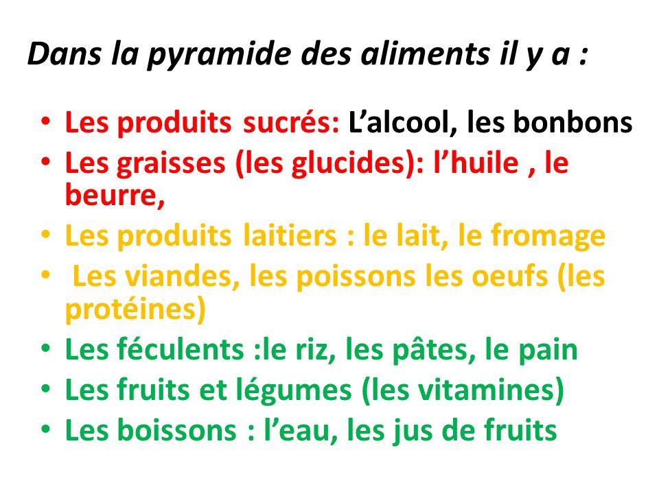 Dans la pyramide des aliments il y a :