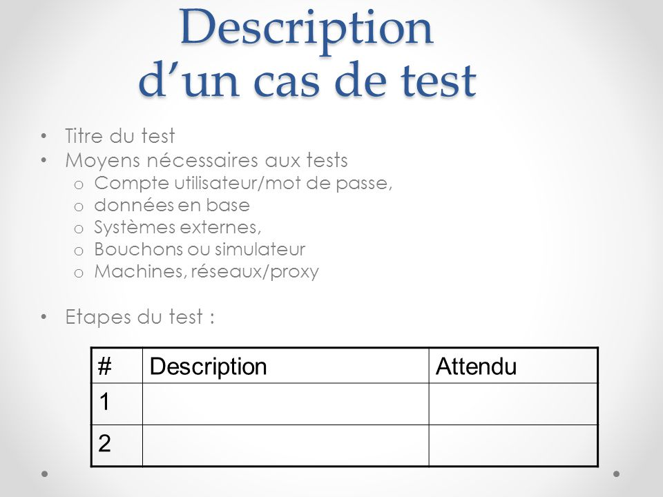 Description d'un cas de test