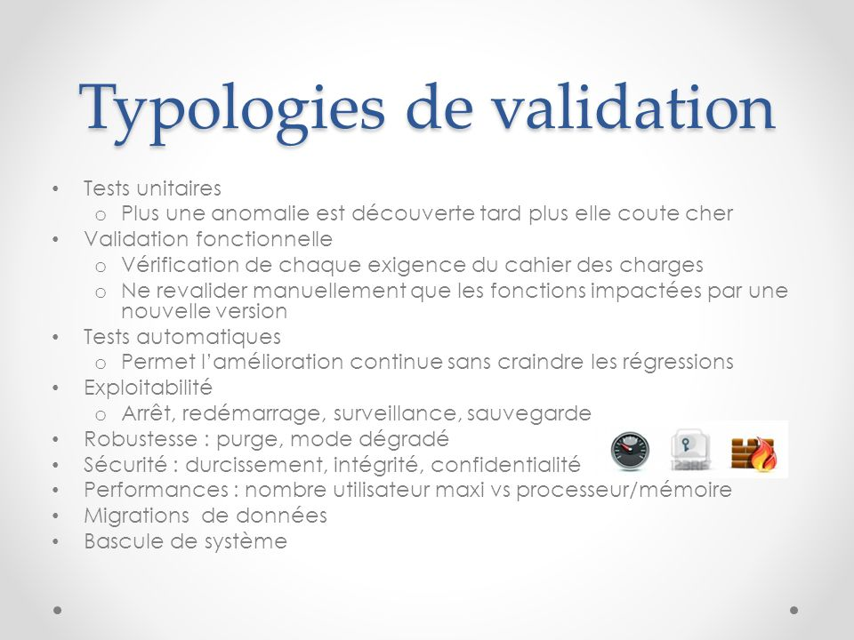 Typologies de validation