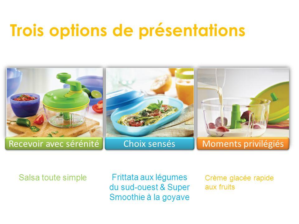 Trois options de présentations