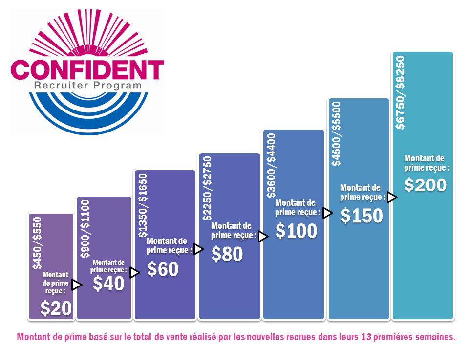 $450/$550 Montant de prime reçue : $20. $900/$1100. Montant de prime reçue : $40. $1350/$1650. $60.