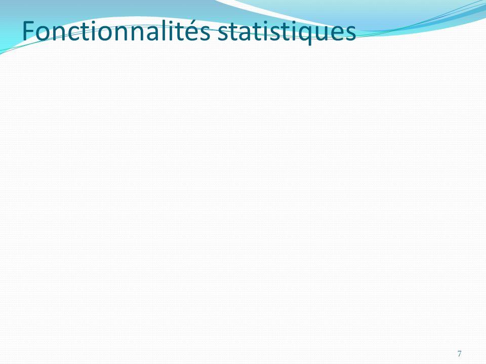 Fonctionnalités statistiques