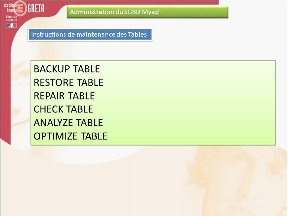 BACKUP TABLE RESTORE TABLE REPAIR TABLE CHECK TABLE ANALYZE TABLE