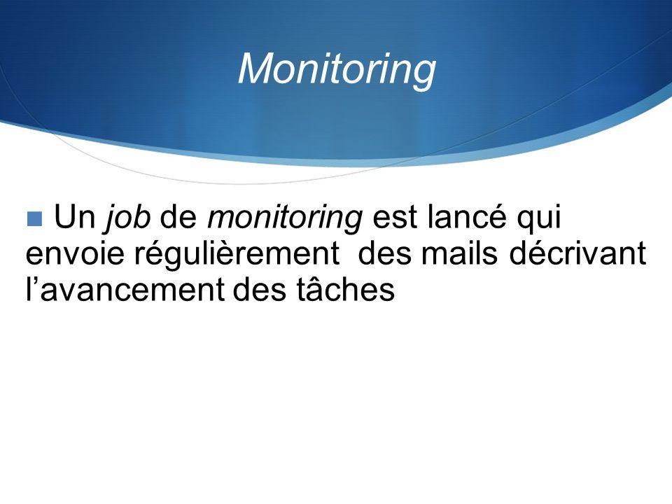MonitoringUn job de monitoring est lancé qui envoie régulièrement des mails décrivant l'avancement des tâches.