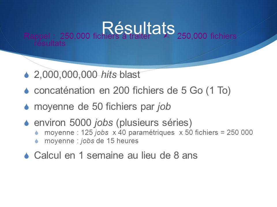 RésultatsRappel : 250,000 fichiers à traiter  250,000 fichiers résultats. 2,000,000,000 hits blast.