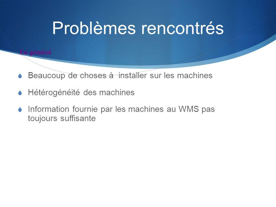 Problèmes rencontrés Beaucoup de choses à installer sur les machines
