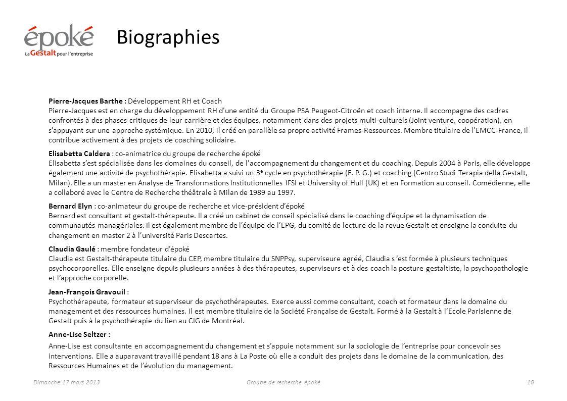 Le groupe de recherche époké 2013/2014 aura pour thème