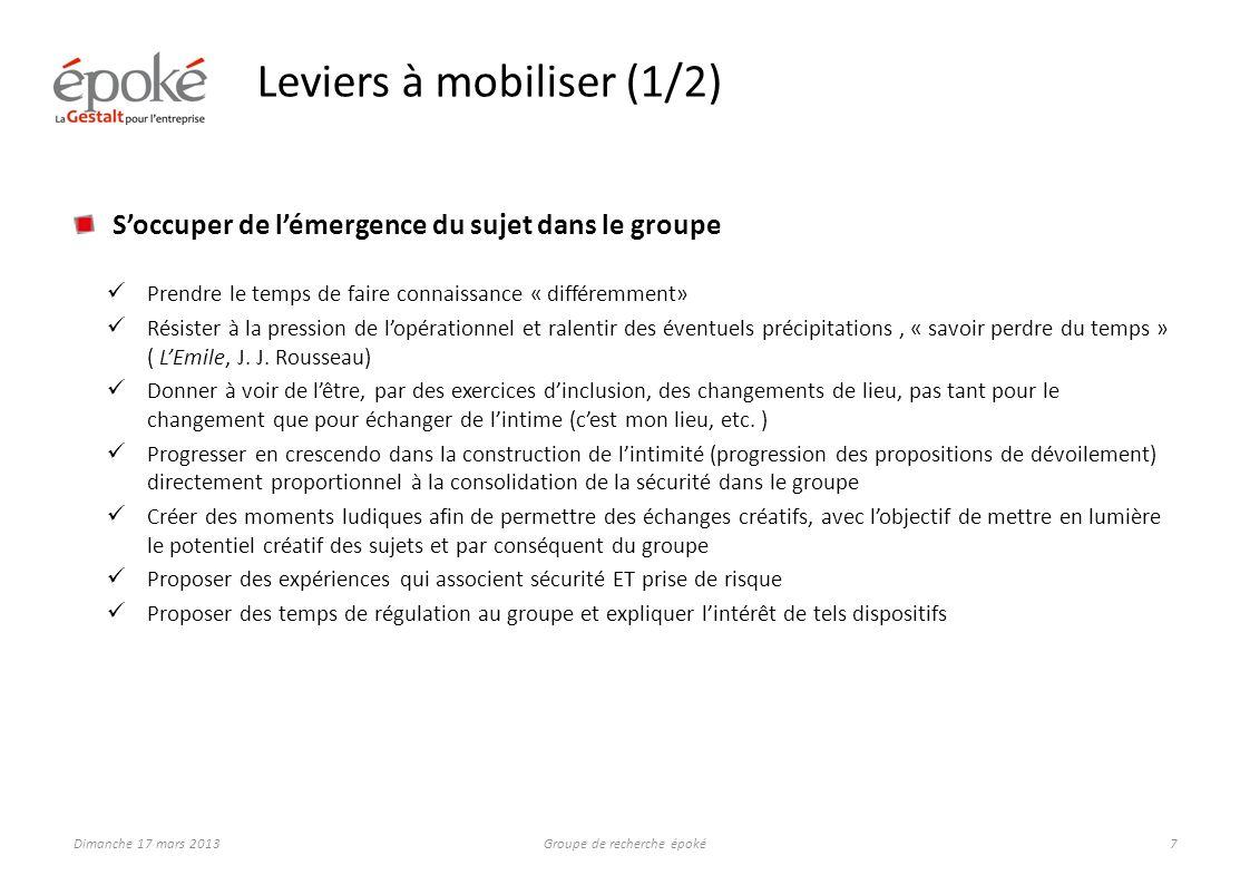Leviers à mobiliser (2/2)