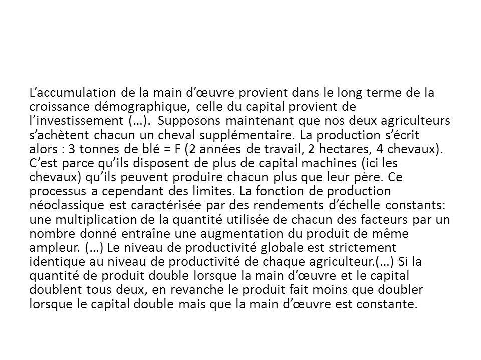 L'accumulation de la main d'œuvre provient dans le long terme de la croissance démographique, celle du capital provient de l'investissement (…).