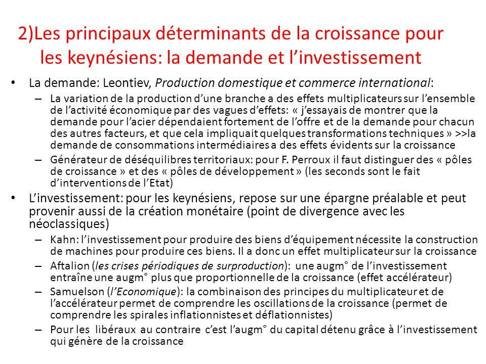2)Les principaux déterminants de la croissance pour les keynésiens: la demande et l'investissement