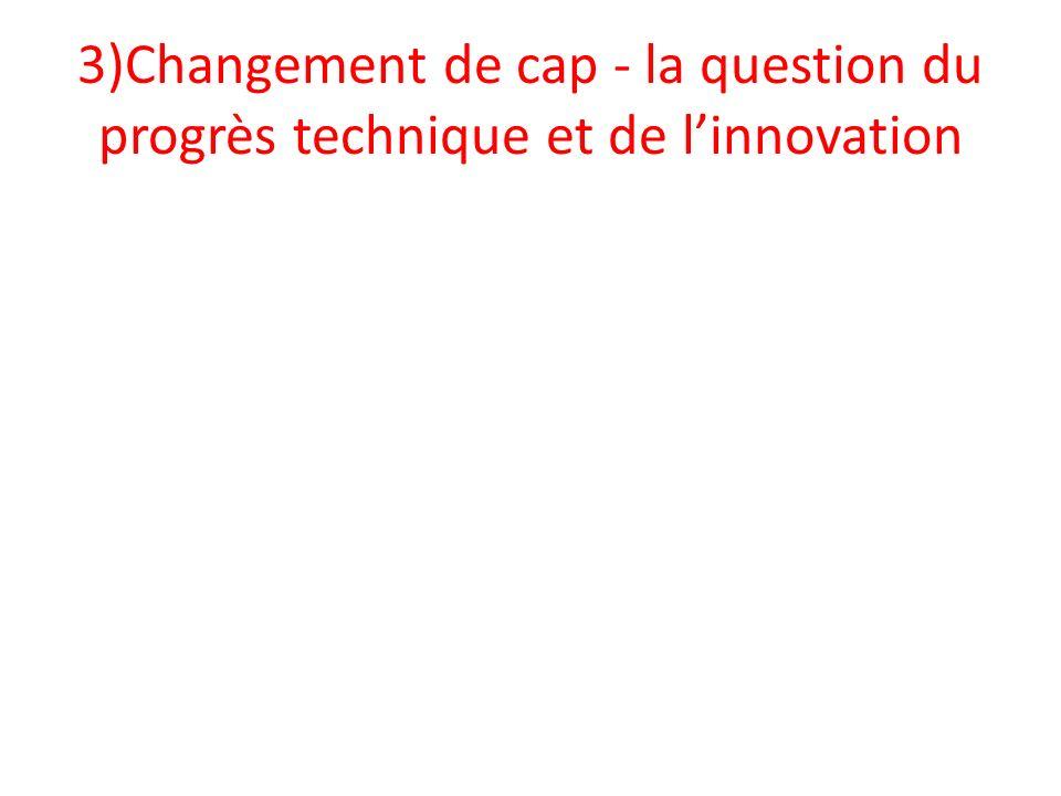 3)Changement de cap - la question du progrès technique et de l'innovation
