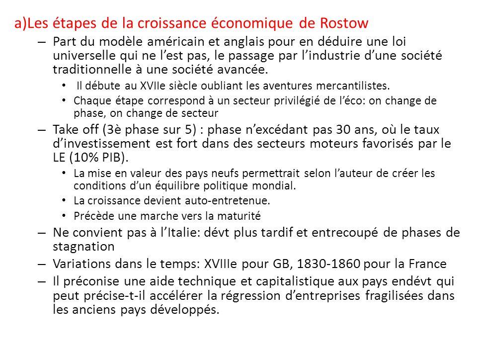 a)Les étapes de la croissance économique de Rostow