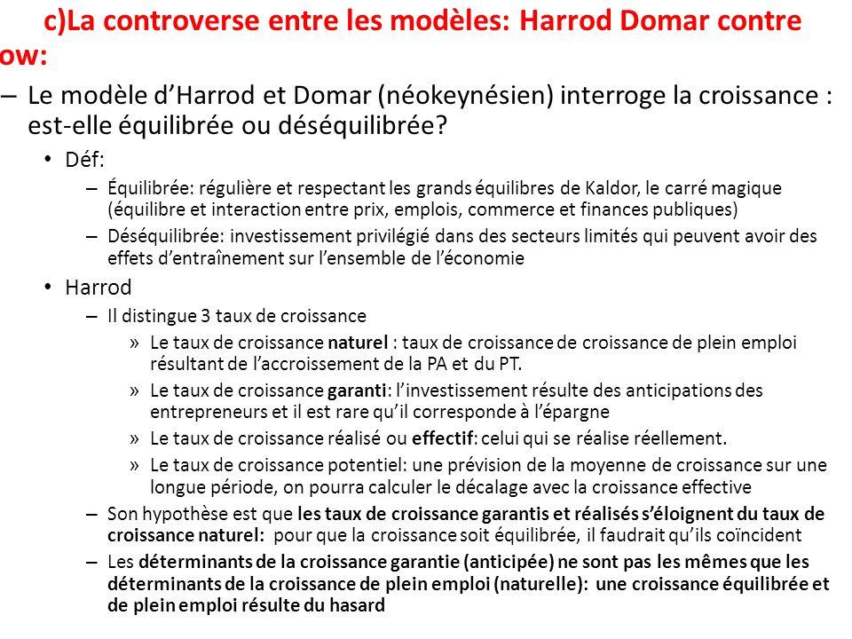 c)La controverse entre les modèles: Harrod Domar contre Solow: