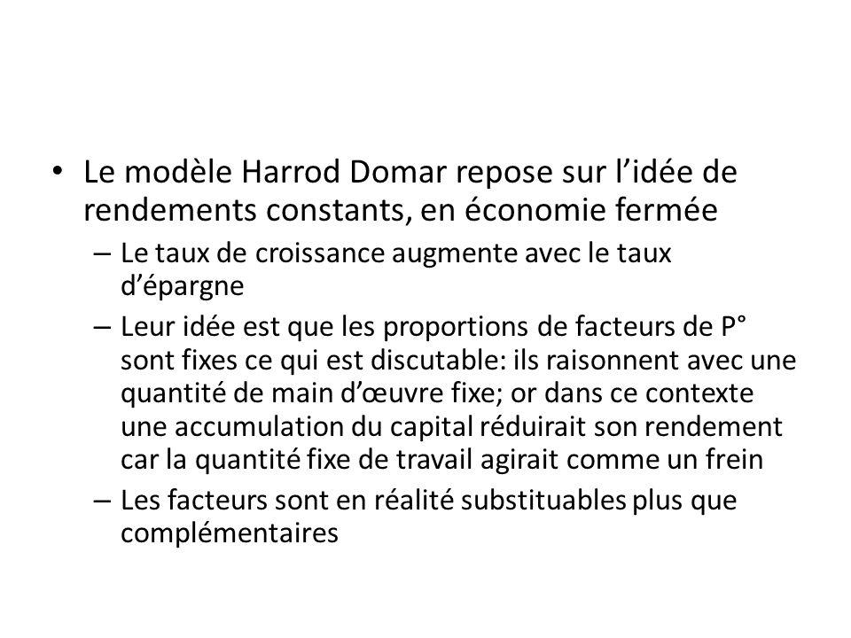 Le modèle Harrod Domar repose sur l'idée de rendements constants, en économie fermée