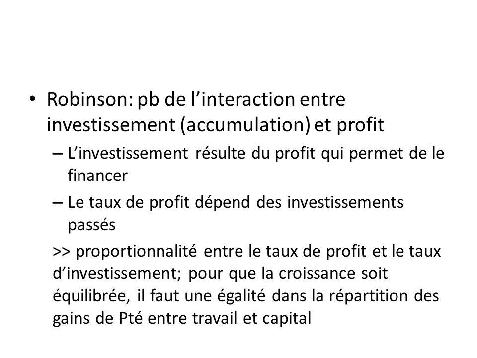 Robinson: pb de l'interaction entre investissement (accumulation) et profit