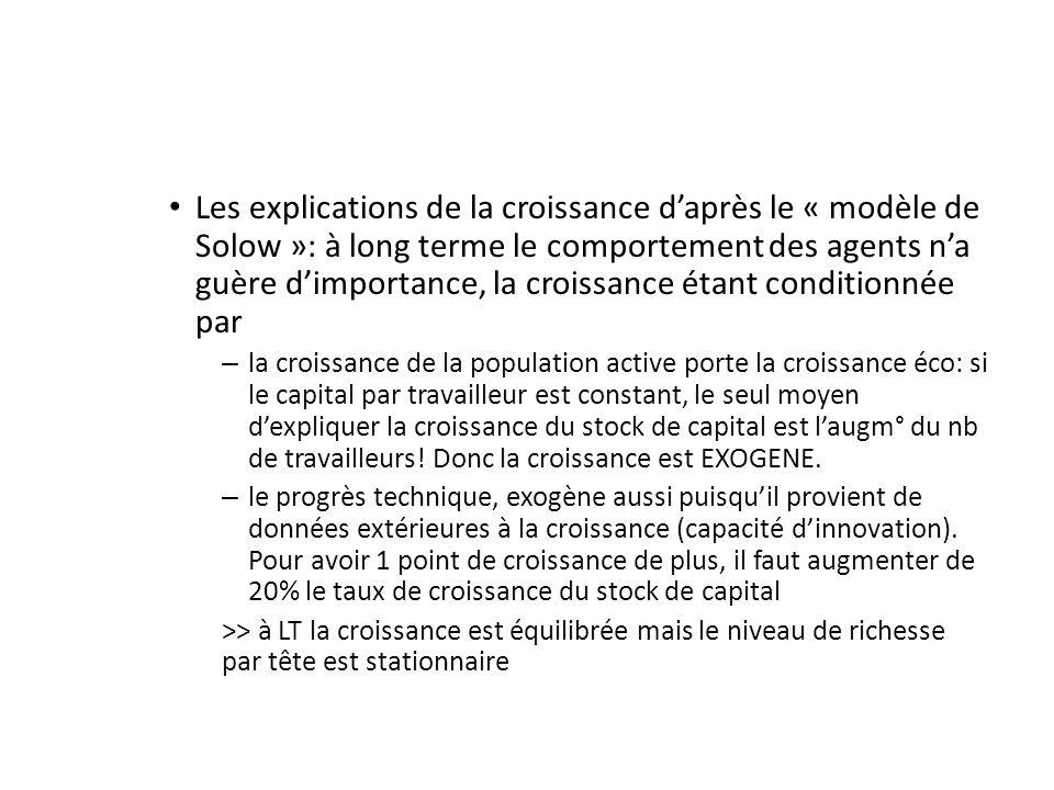 Les explications de la croissance d'après le « modèle de Solow »: à long terme le comportement des agents n'a guère d'importance, la croissance étant conditionnée par