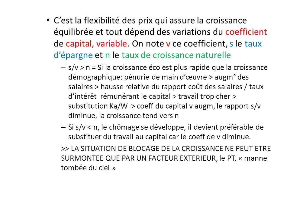 C'est la flexibilité des prix qui assure la croissance équilibrée et tout dépend des variations du coefficient de capital, variable. On note v ce coefficient, s le taux d'épargne et n le taux de croissance naturelle