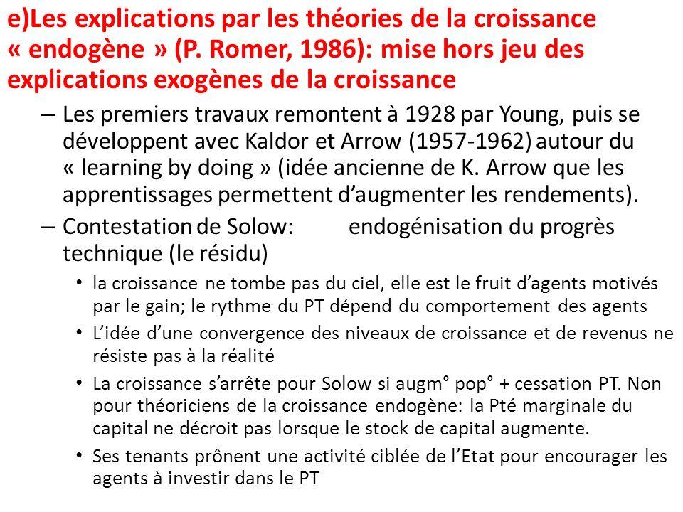 e)Les explications par les théories de la croissance « endogène » (P