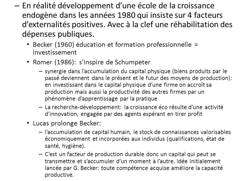 En réalité développement d'une école de la croissance endogène dans les années 1980 qui insiste sur 4 facteurs d'externalités positives. Avec à la clef une réhabilitation des dépenses publiques.