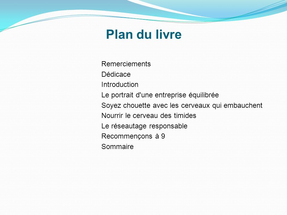 Plan du livre