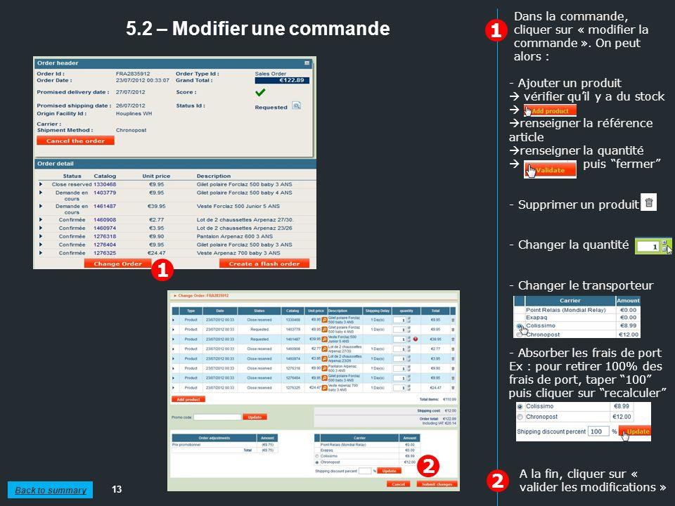 5.2 – Modifier une commande