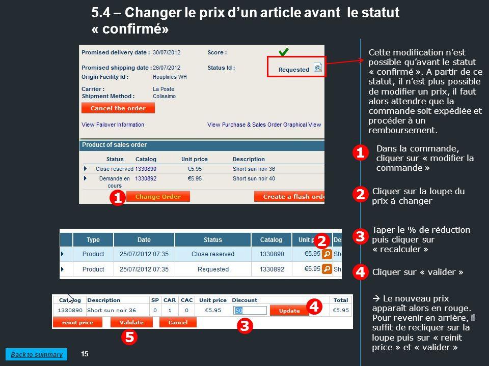5.4 – Changer le prix d'un article avant le statut « confirmé»