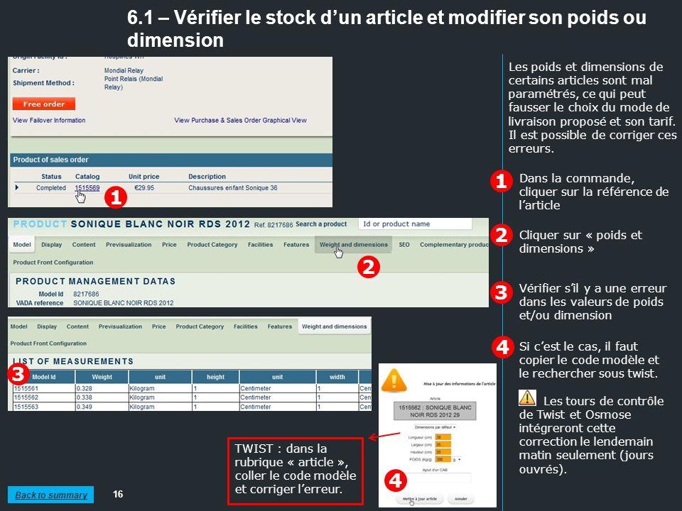 6.1 – Vérifier le stock d'un article et modifier son poids ou dimension