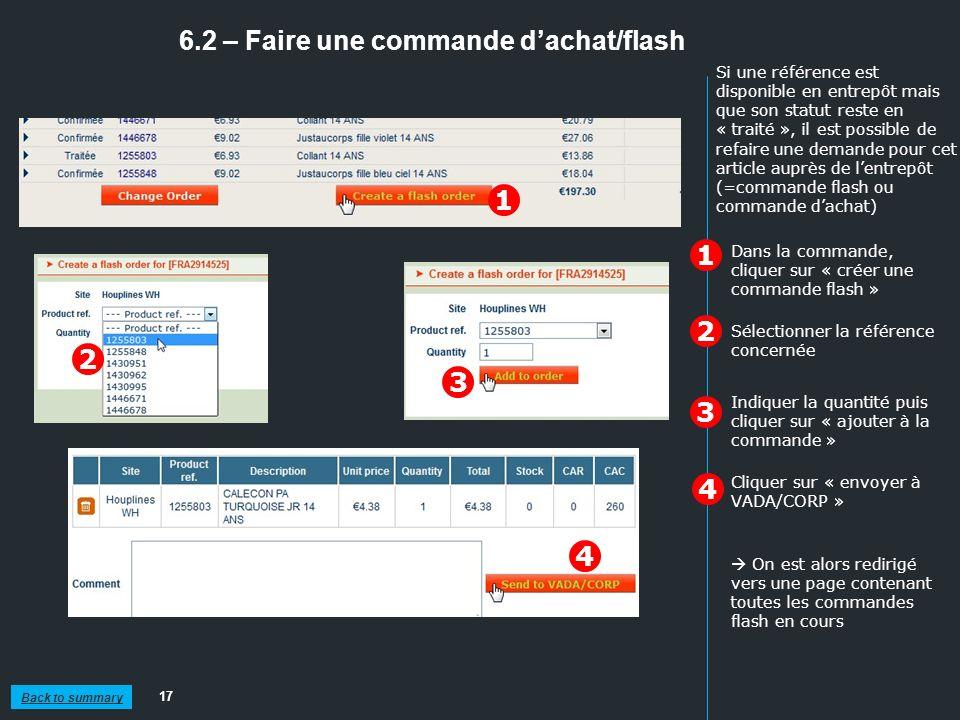6.2 – Faire une commande d'achat/flash