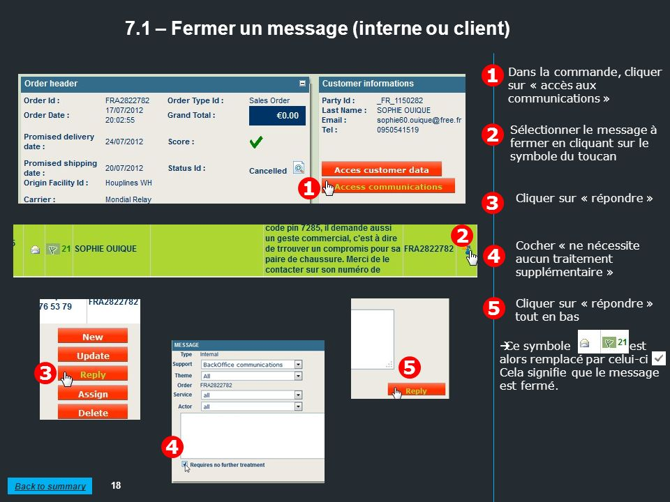 7.1 – Fermer un message (interne ou client)