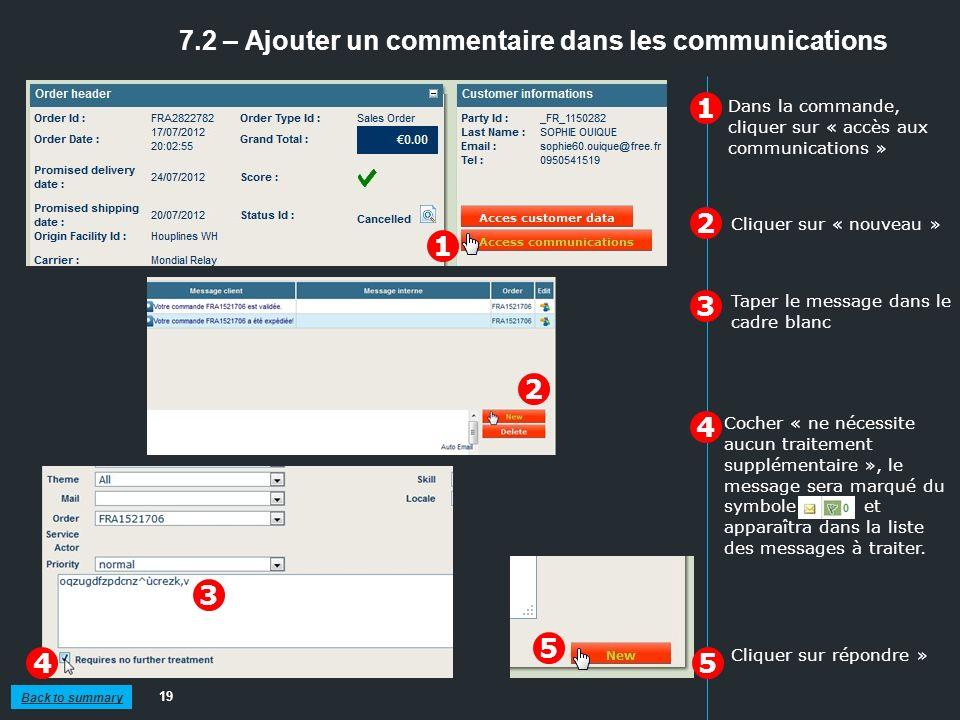 7.2 – Ajouter un commentaire dans les communications