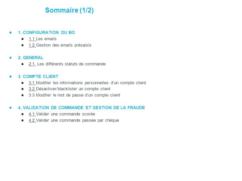 Sommaire (1/2) 1. CONFIGURATION DU BO 1.1 Les emails