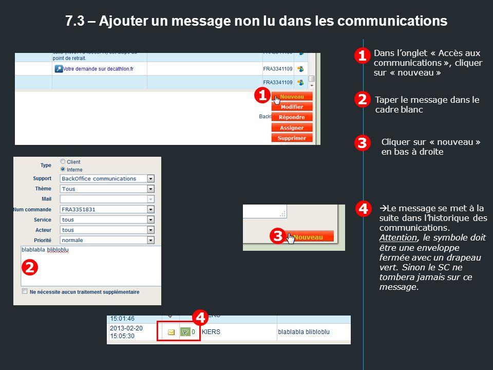 7.3 – Ajouter un message non lu dans les communications